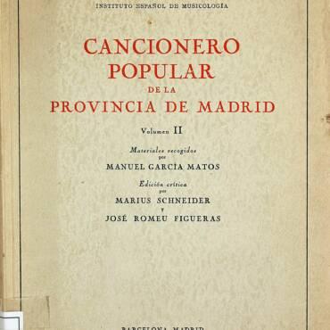 Cancionero popular de la provincia de Madrid.